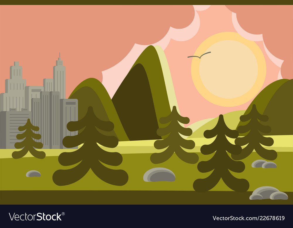 City and mountains landscape