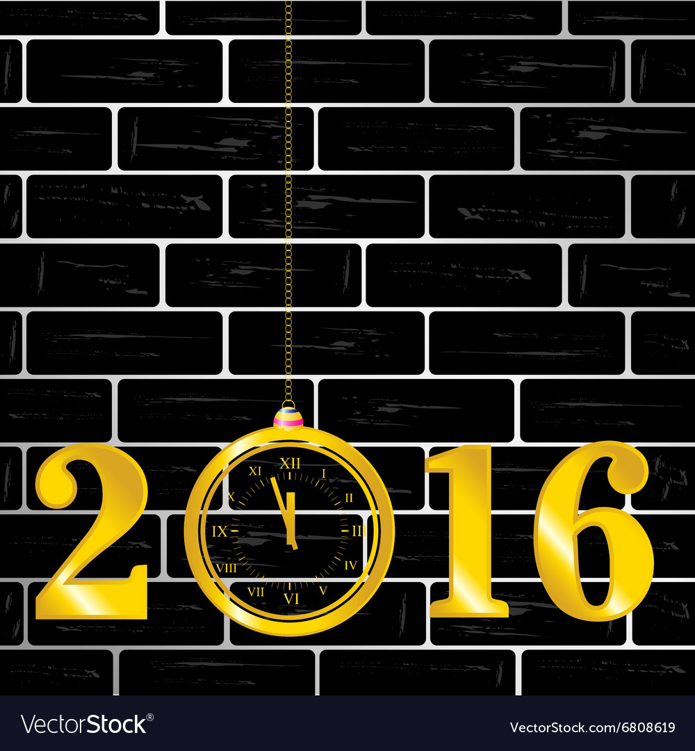 Happy new year 2016 with clock