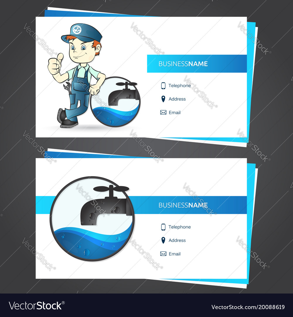 Plumber Business Card Royalty Free Vector Image