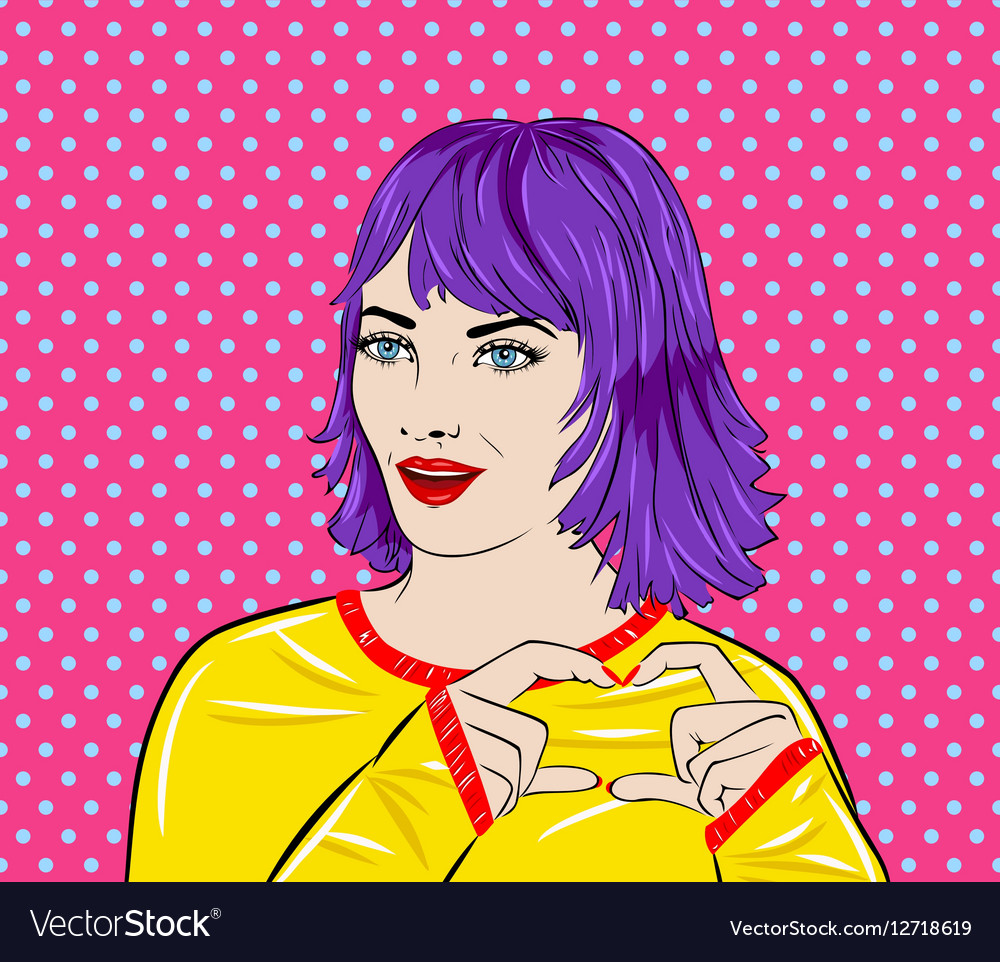 Pop art surprised woman face with mouth Comic