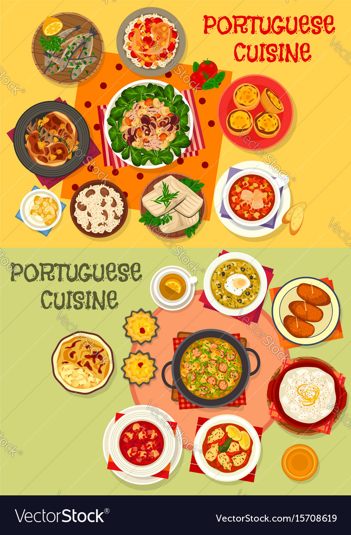 Portuguese cuisine seafood dinner menu icon set vector image
