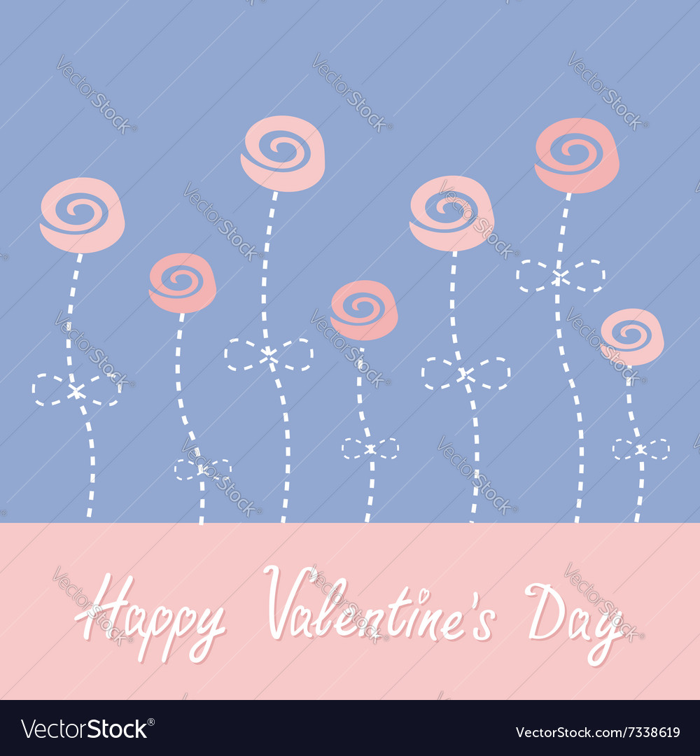 Roses with dash line stalks Happy Valentines Day