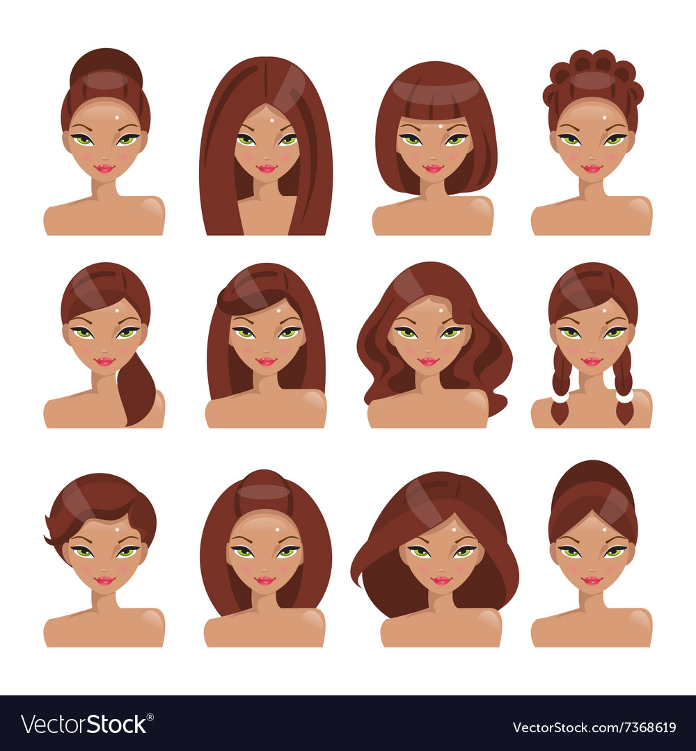 Set of girls with different hairstyles