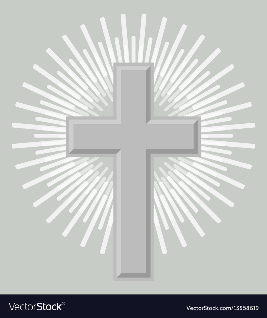 Silver orthodox crucifix icon isolated vector image
