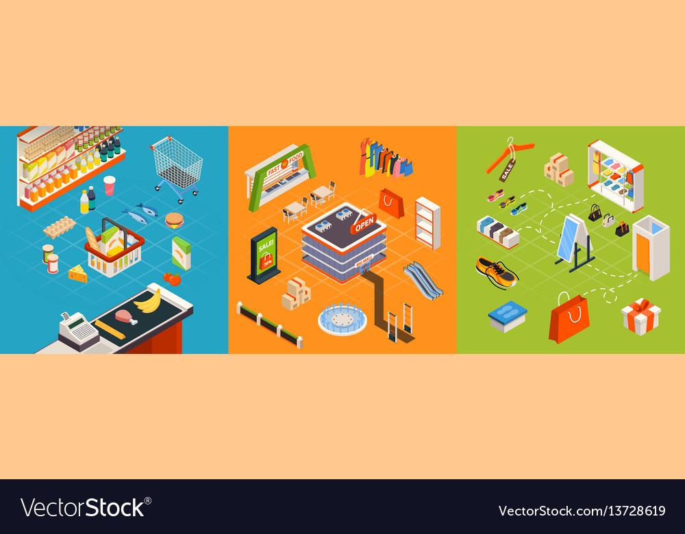 Supermarket furniture isometric set