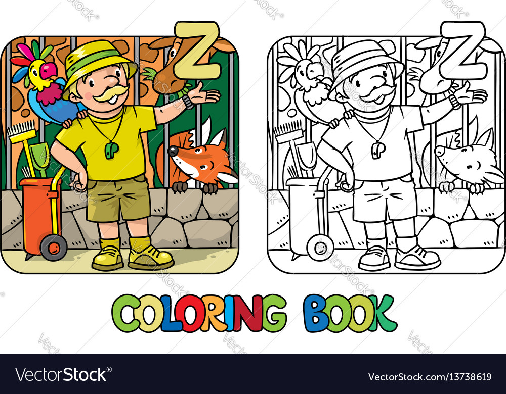Zoo keeper coloring book profession abc alphabet z vector image