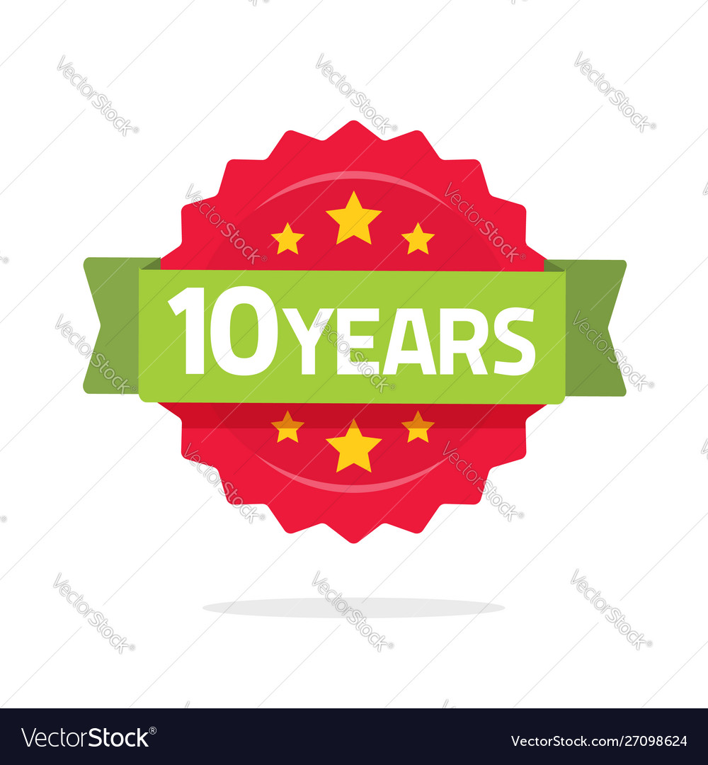10 years anniversary logo template with green