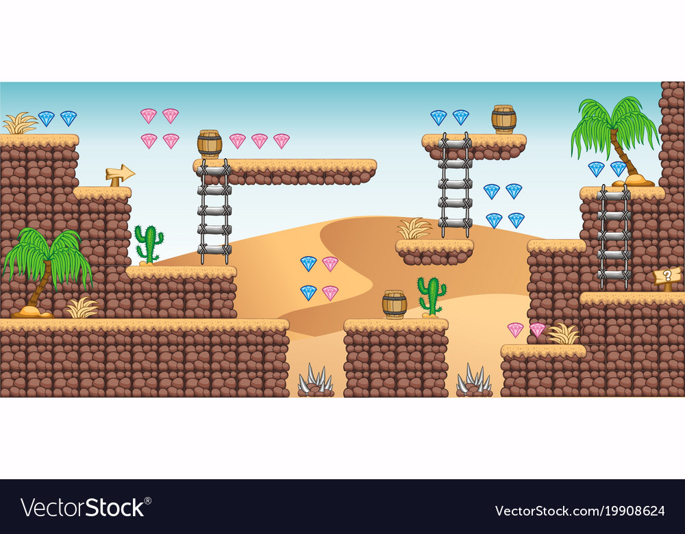 2d tileset platform game 9 Royalty Free Vector Image