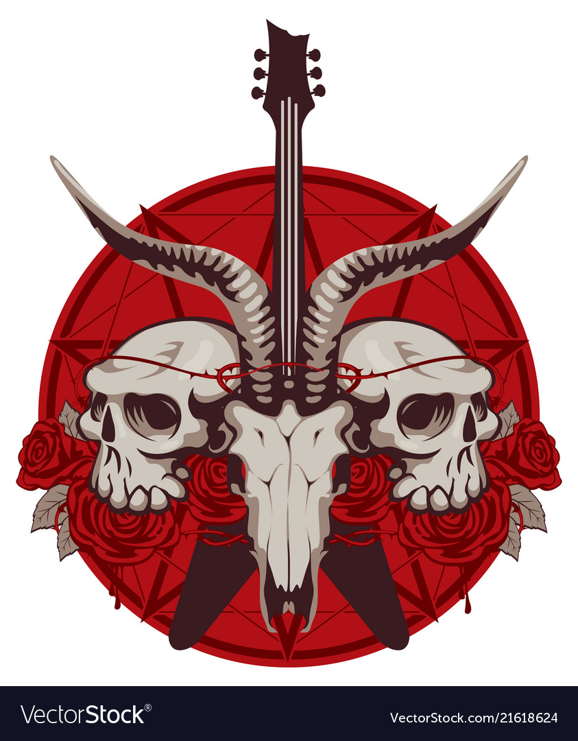 banner with guitar skulls roses and pentagram vector image