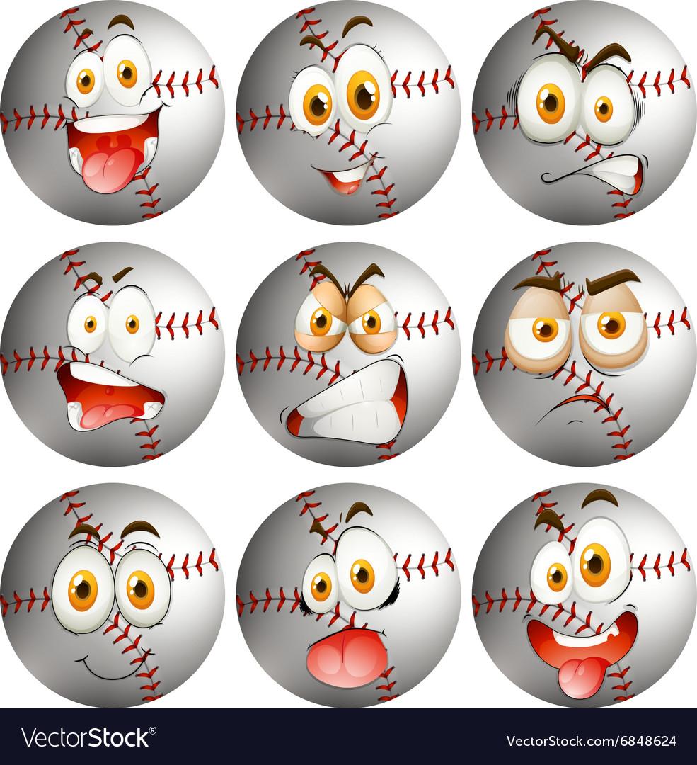 Baseball with facial expression