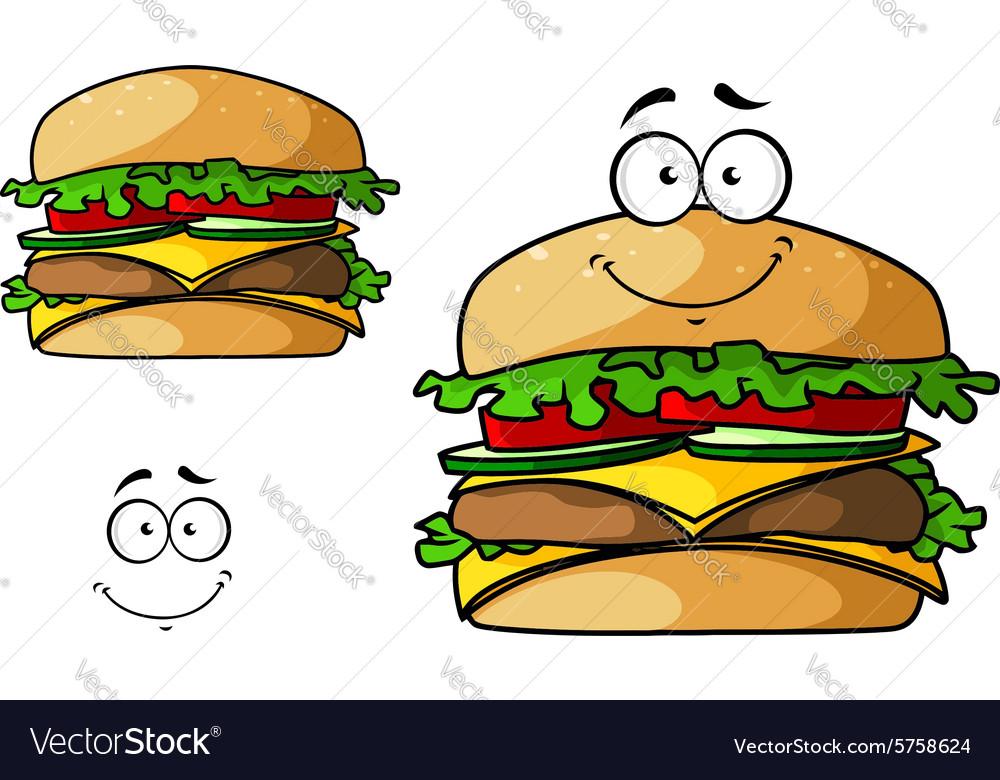 Cartoon isolated fast food cheeseburger
