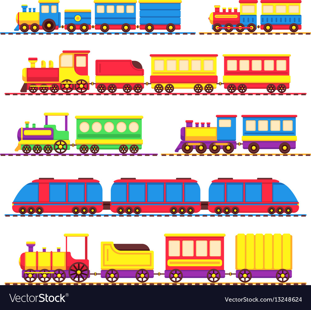 Cartoon kids toy trains locomotive and wagons