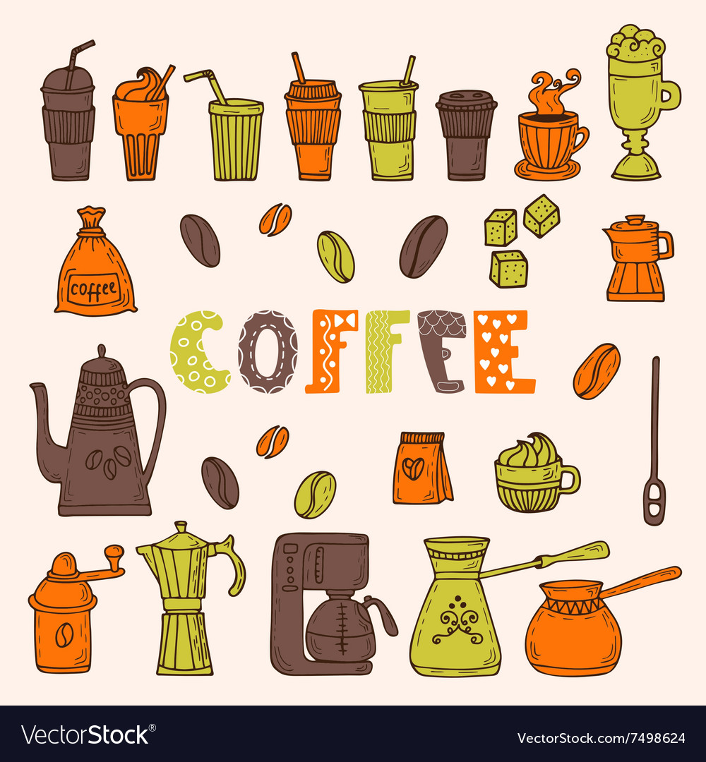 Collection of various sketches coffee doodles