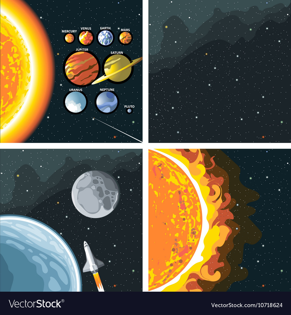 Digital cosmos icons set with galaxy vector image