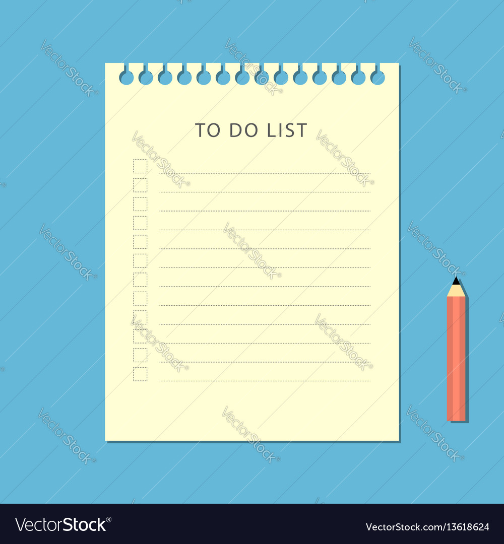 Flat to do list and pencil on blue background