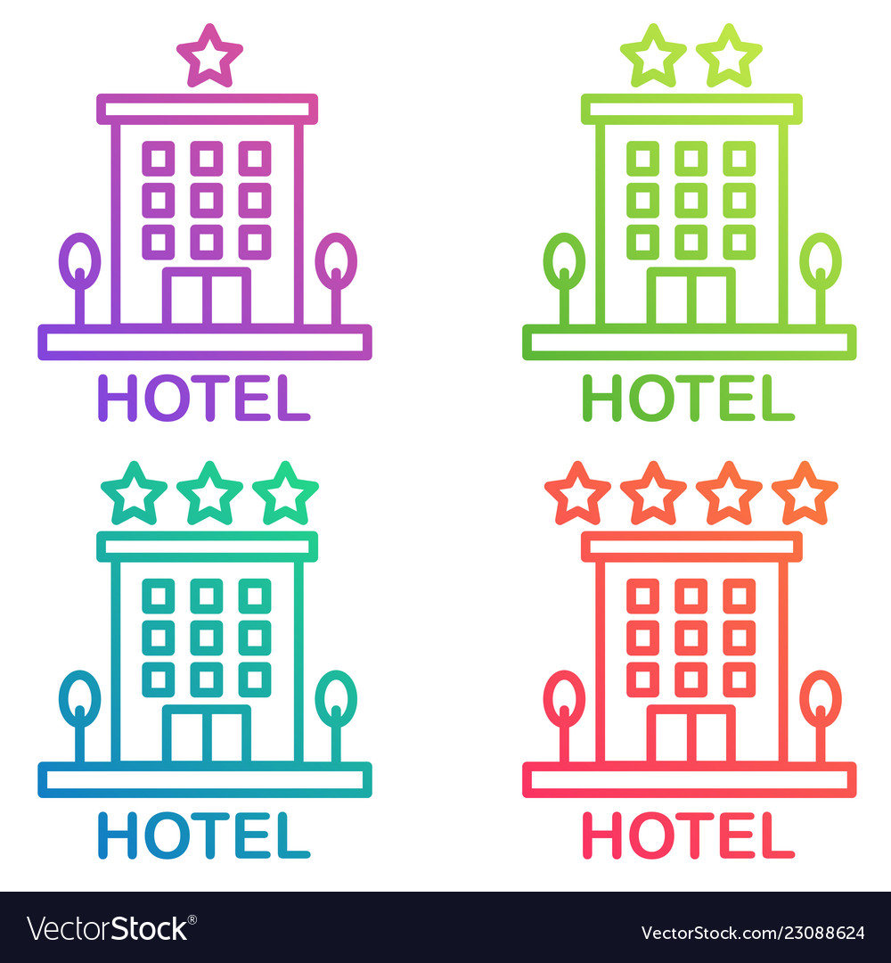 Hotel icon isolated simple hostel line