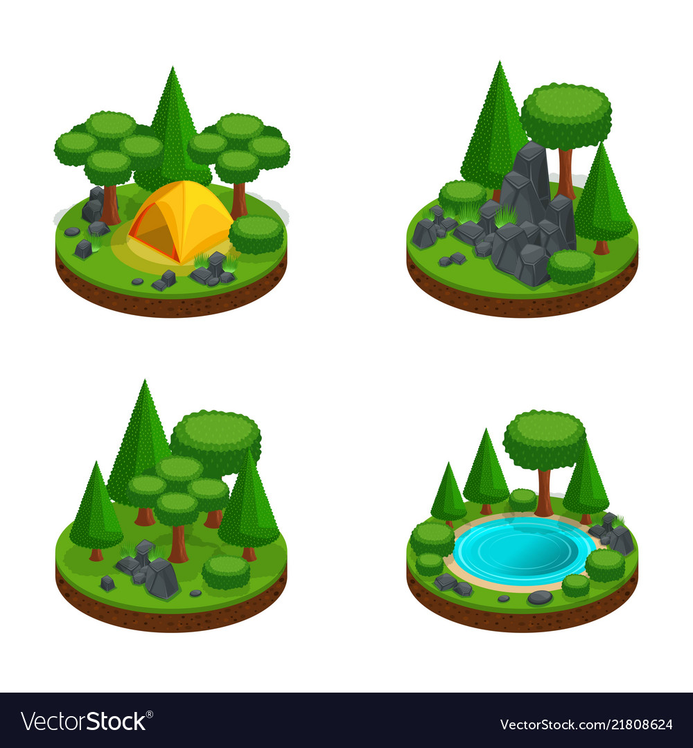 Isometry set mini islands with landscapes