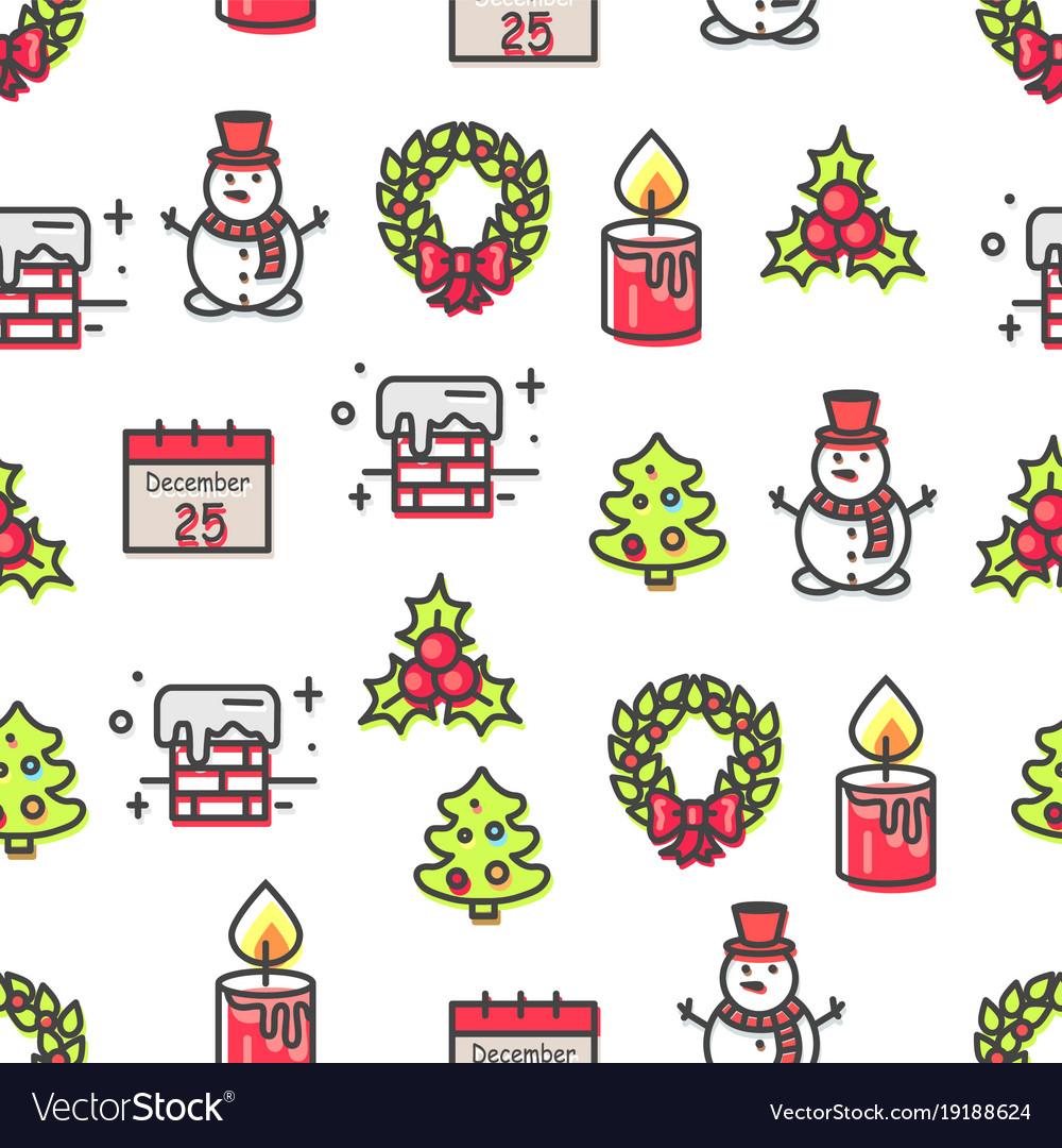 Set christmas theme symbols seamless pattern
