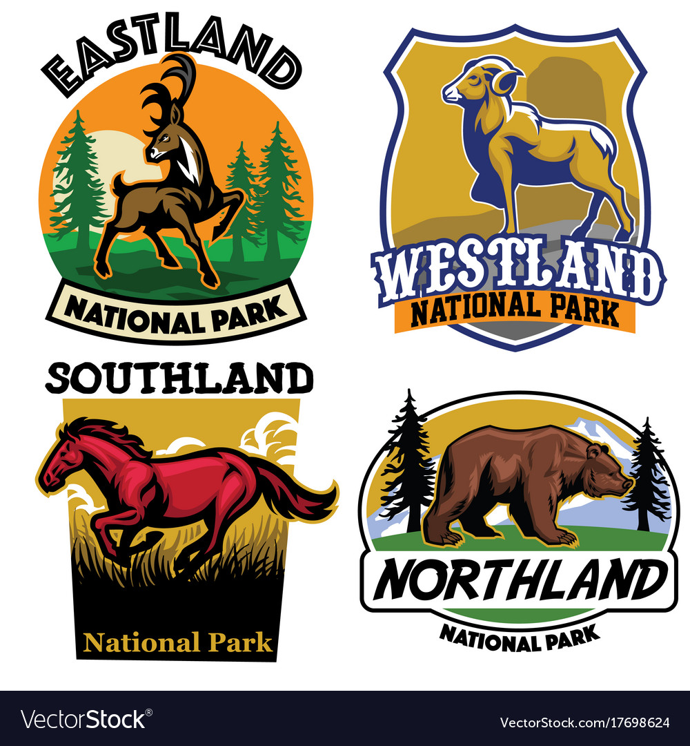 Set of wild life badge collection vector image