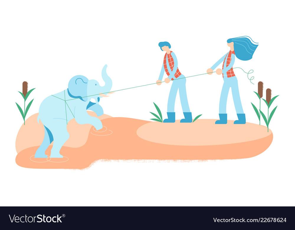 Volunteers pulling an elephant calf