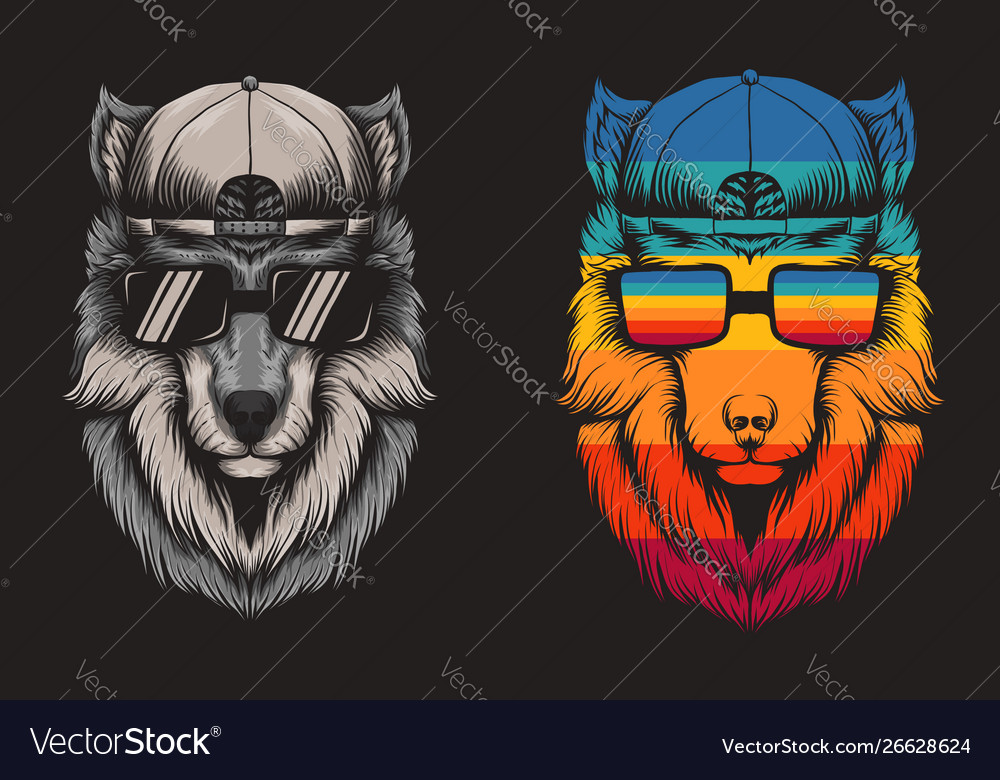 Wolf cool retro vector