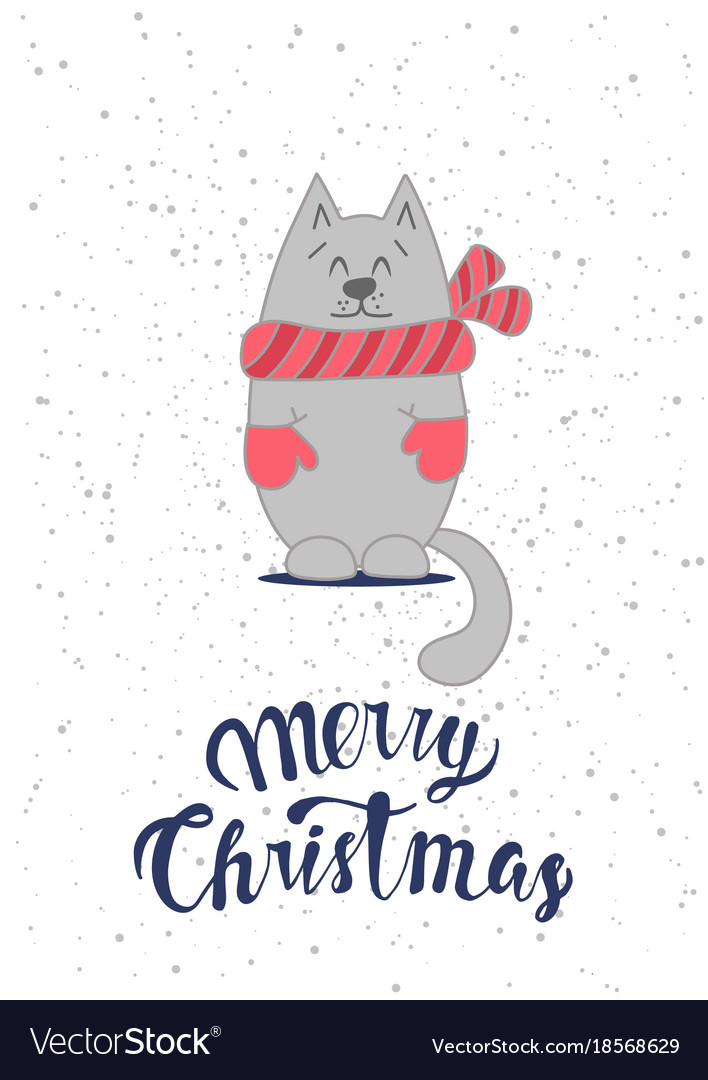 Christmas card template with cute cat
