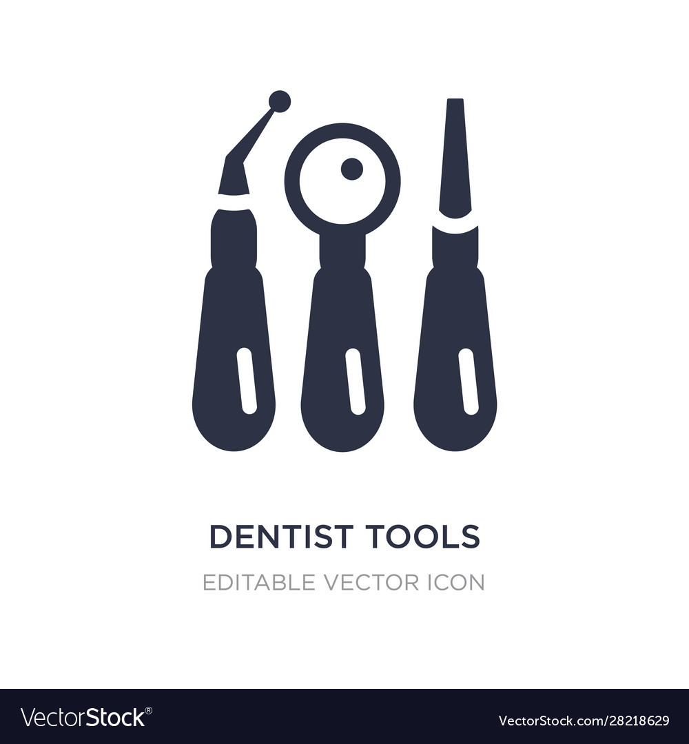 Dentist tools icon on white background simple