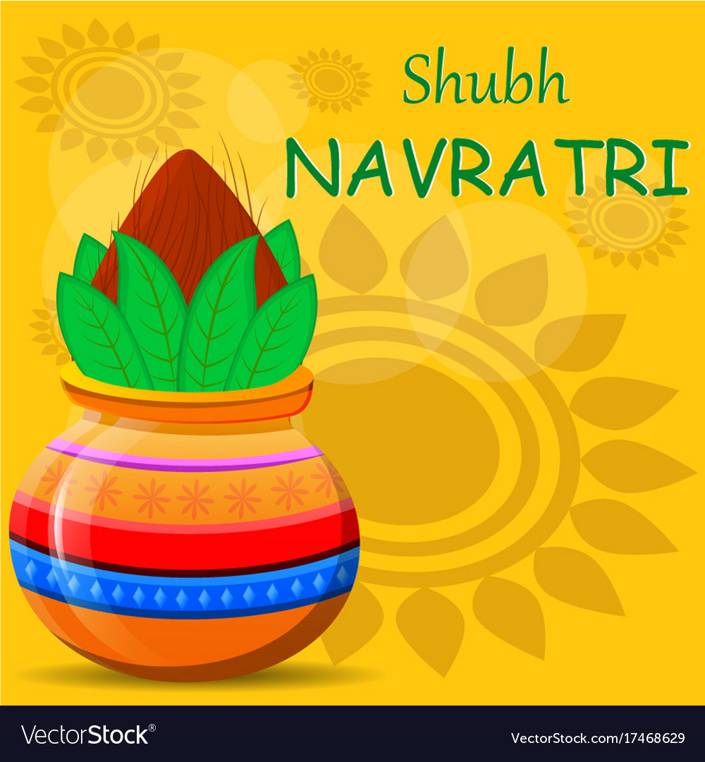 Happy Navratri Greeting Card Pot With Coconut On Vector Image