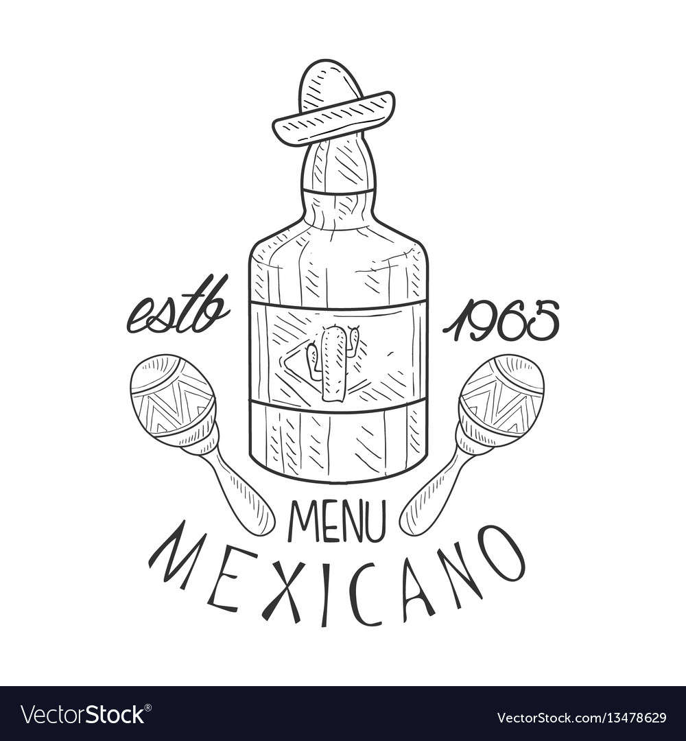 Restaurant mexican food menu promo sign in sketch