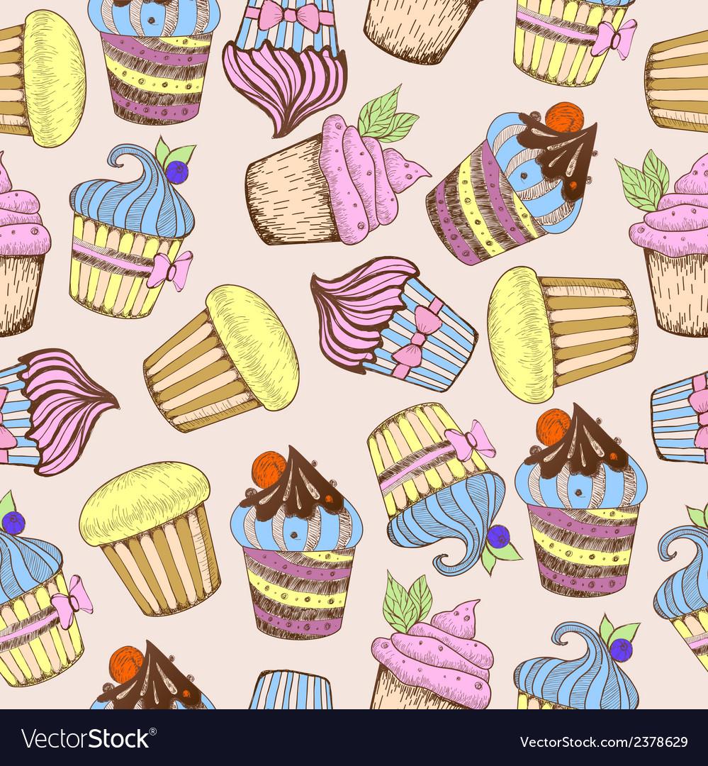 Seamless pattern Decorative sweet cakes