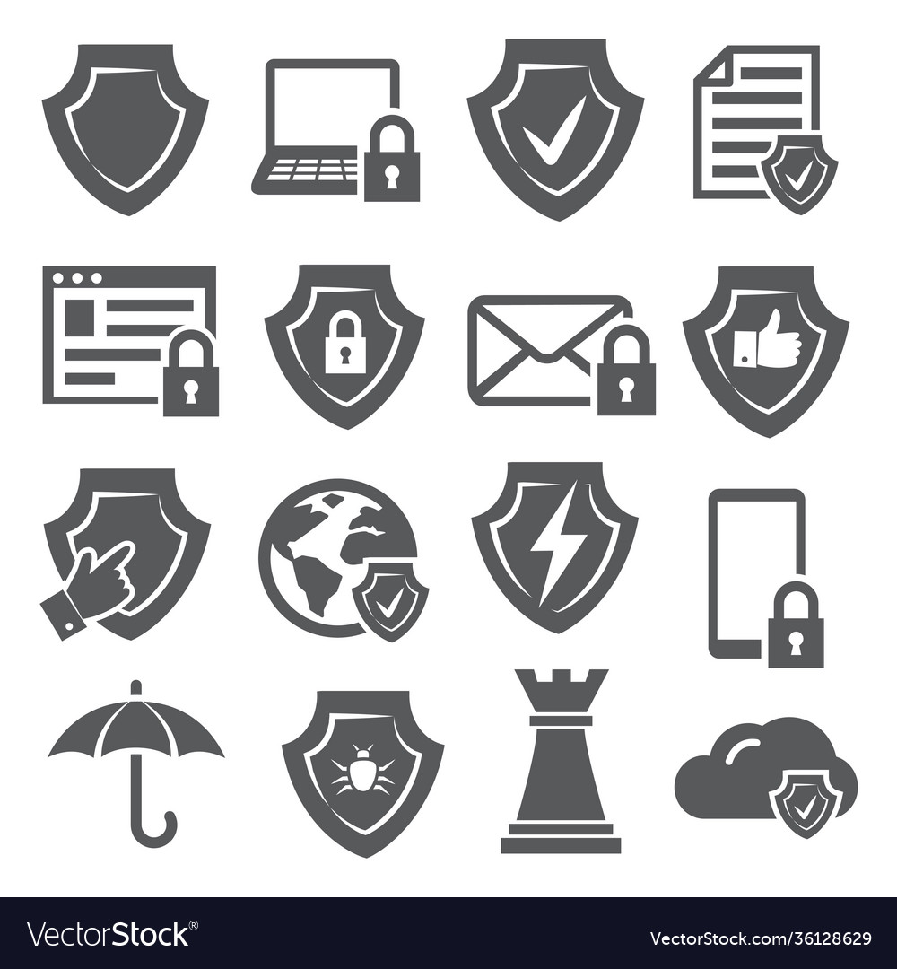 Secure and shield icons on white background