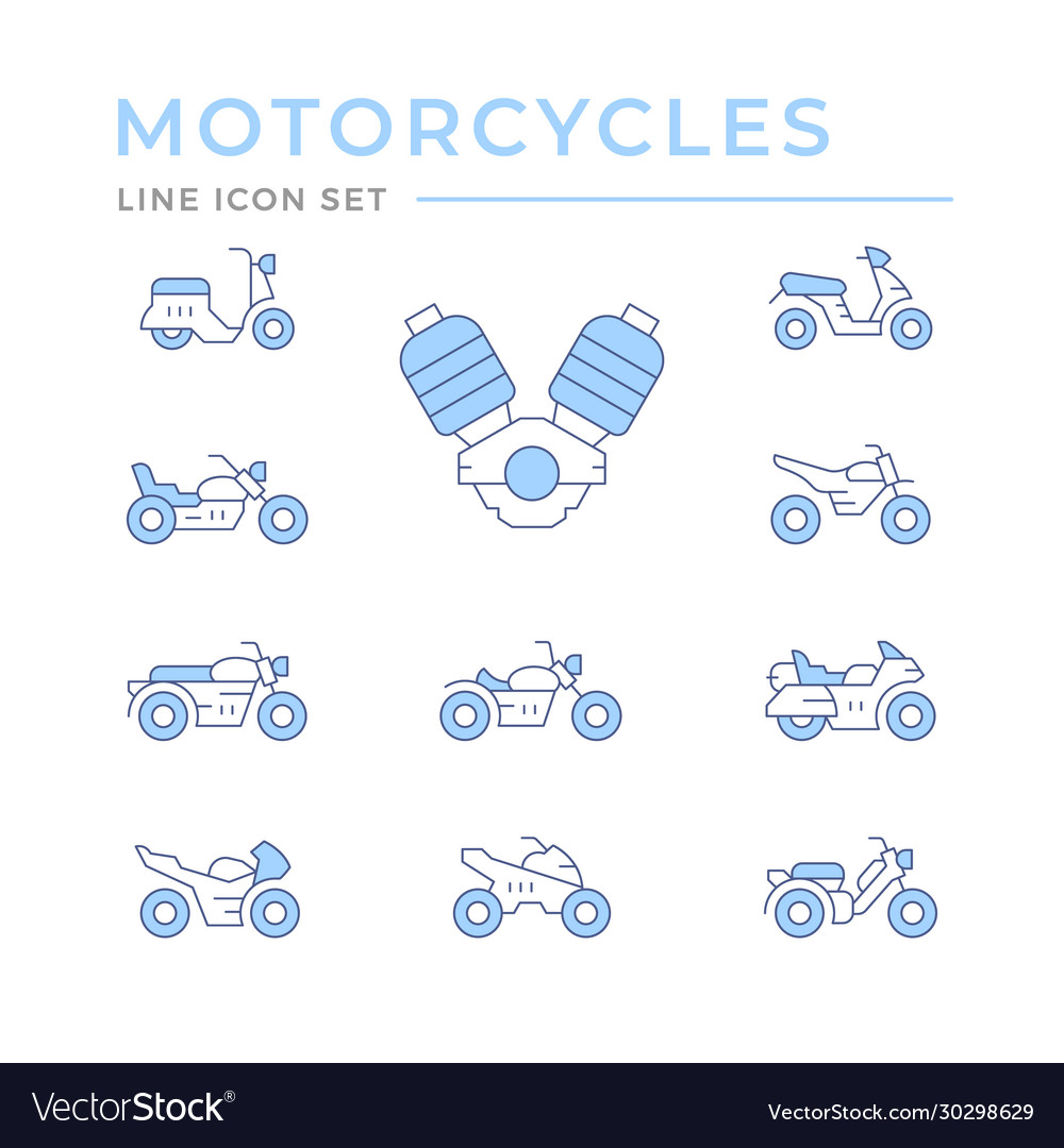 Set color line icons motorcycles