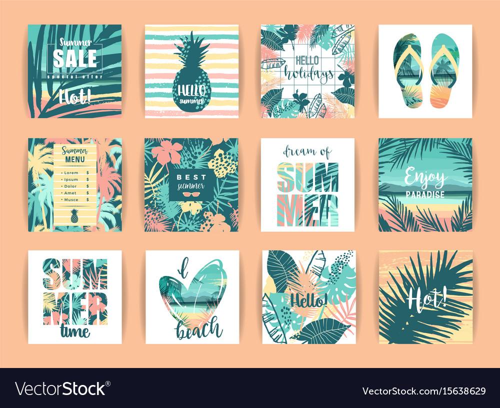 Set of summer tropical designs templates
