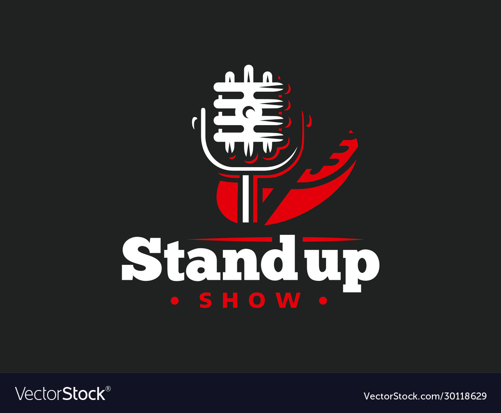 Stand up comedy event emblem design retro style vector