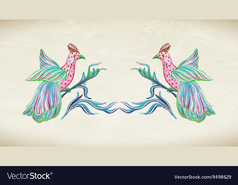 Two birds with frame vector image