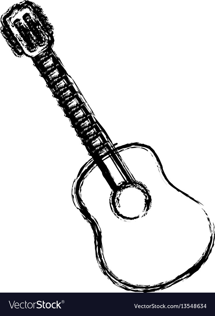 Blurred sketch contour acoustic guitar icon vector image