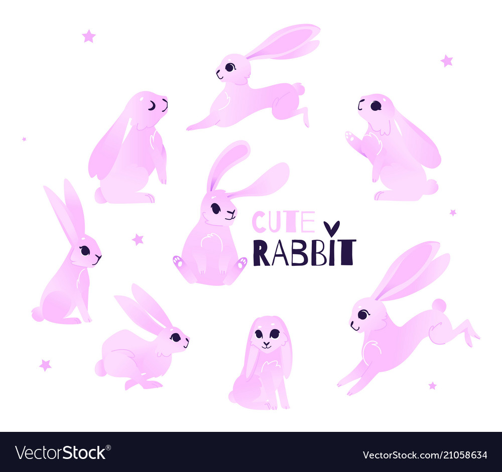 Cartoon pink rabbits hare collection