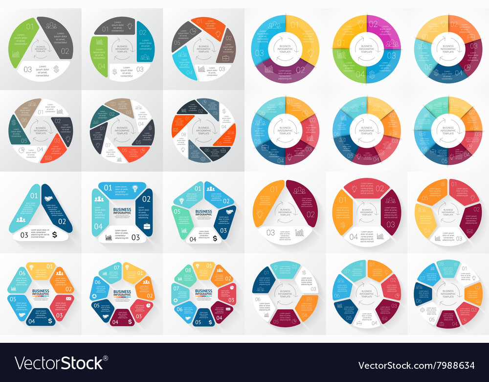 Circle arrows infographic 3 4 5 6 7 8