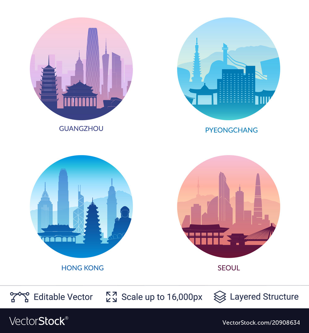 Collection of famous city scapes