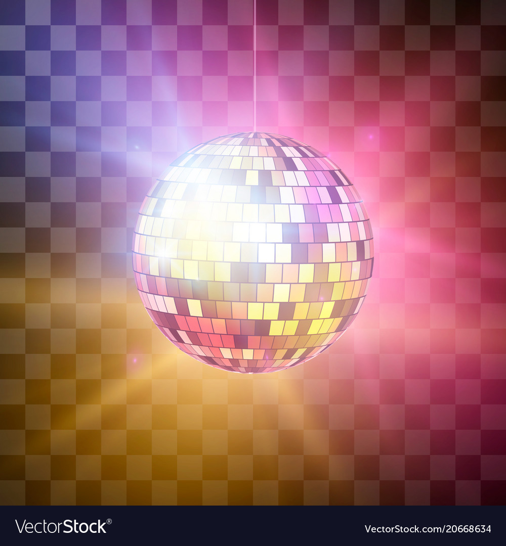 Disco ball with bright rays on transparent