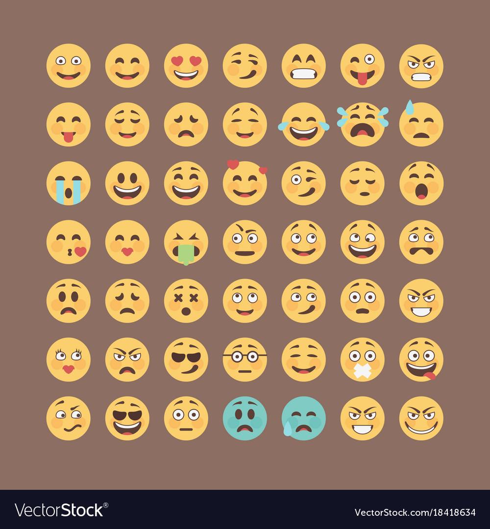 Emoticons collection flat emoji set cute smileys