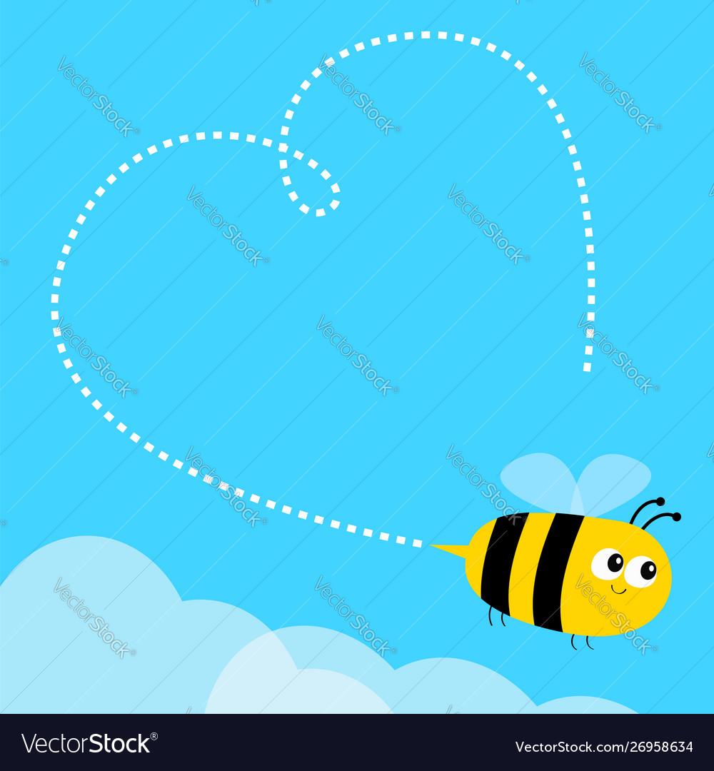 Flying bee icon dash line heart big eyes happy