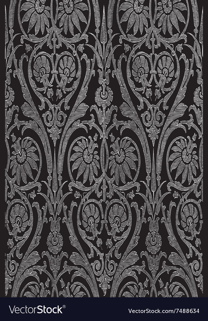Hand drawn seamless striped damask background