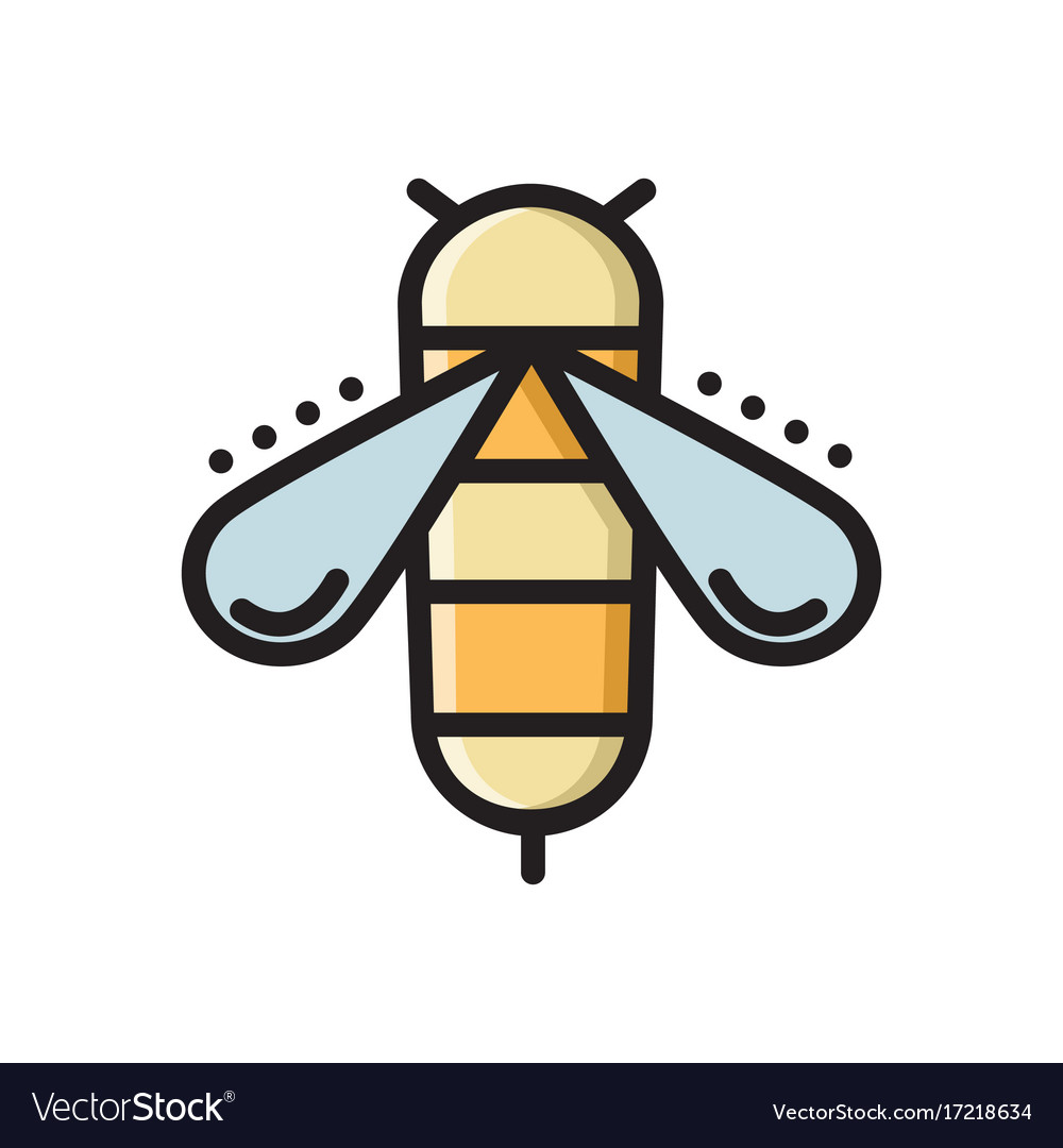 Honey bee colorful thin line flat style icon