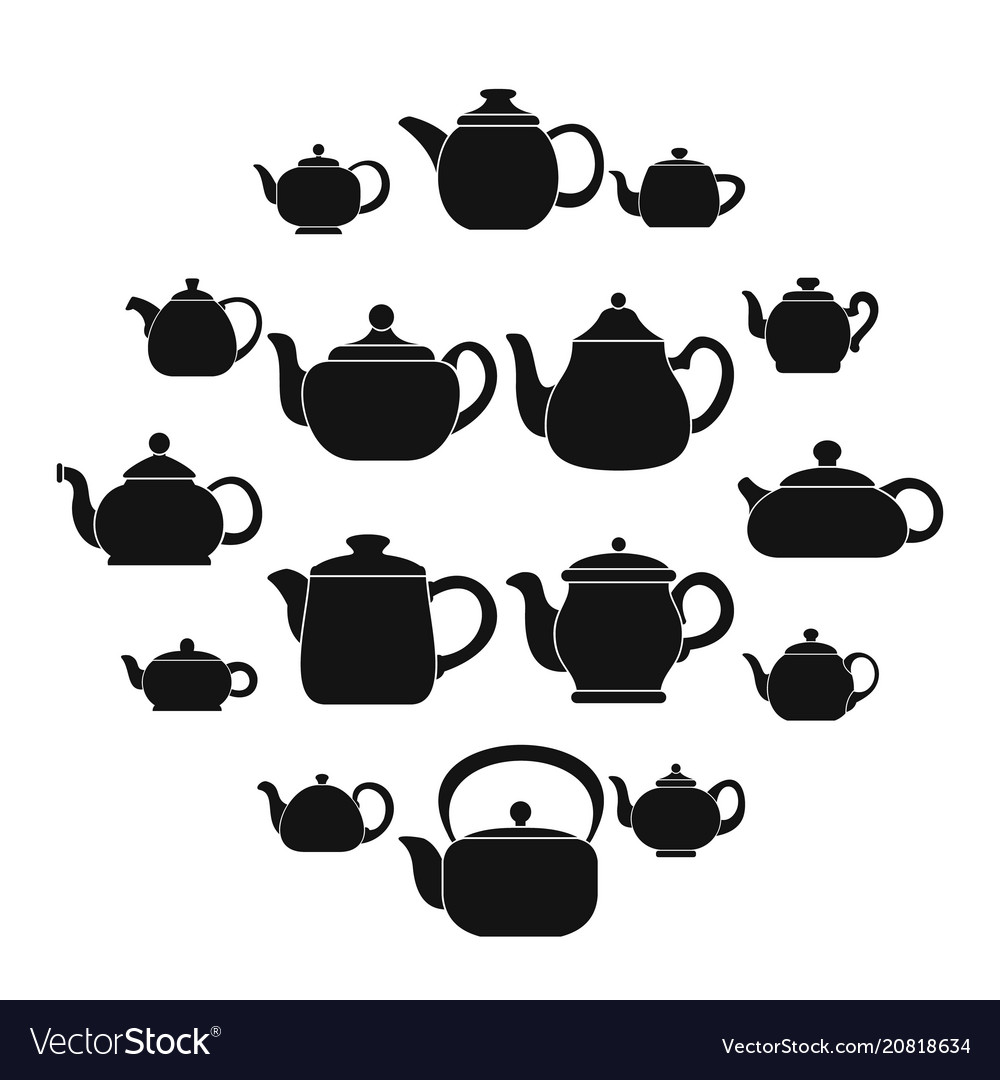 Kettle teapot icons set simple style