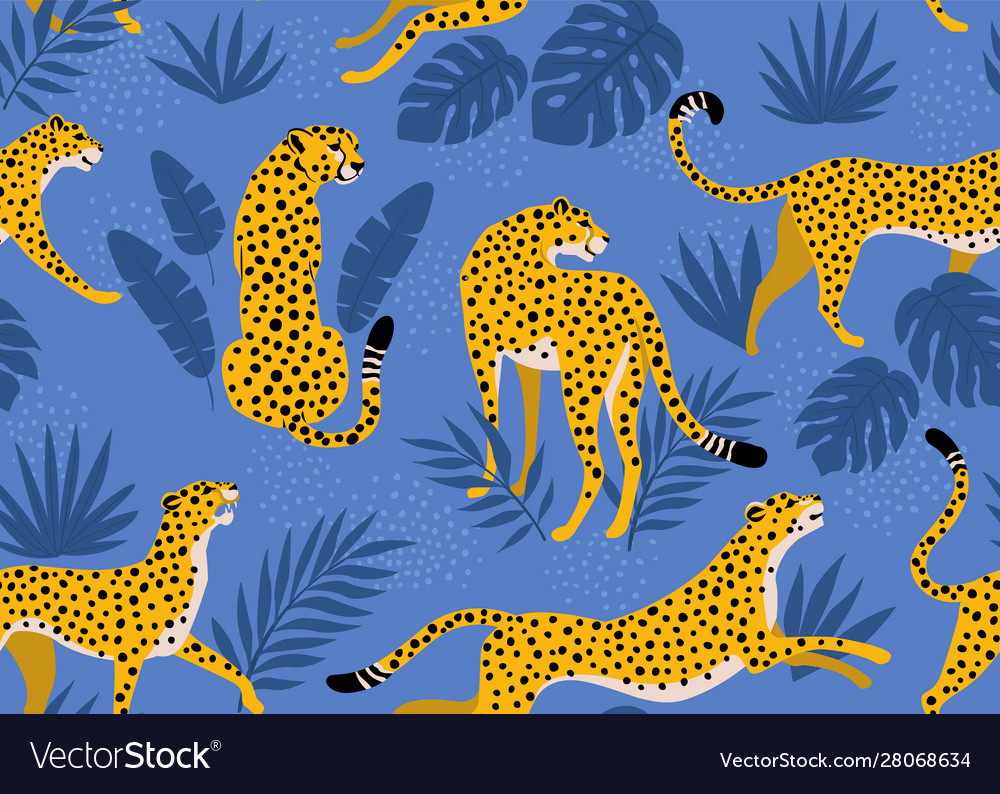Leopard pattern with tropical leaves