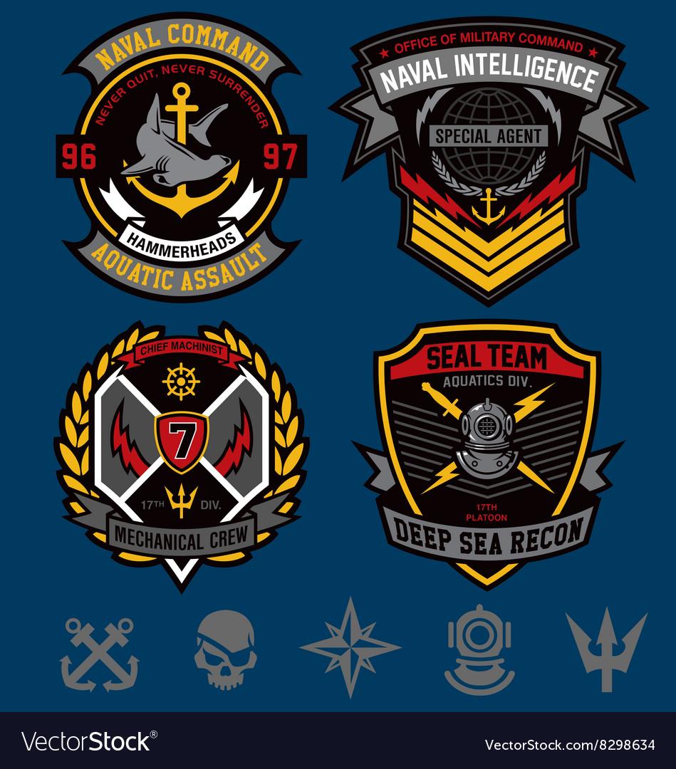Navy military patch emblem set