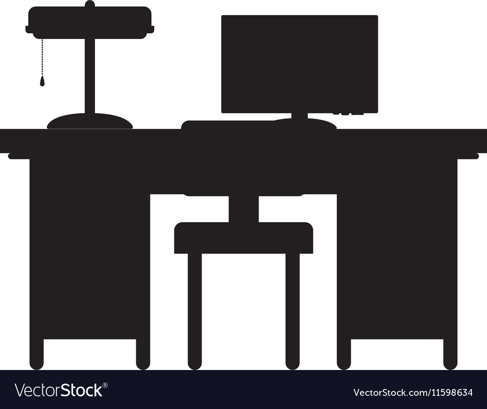Silhouette desk with computer and chair Royalty Free Vector