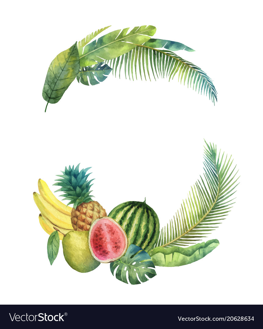 Watercolor wreath tropical leaves and