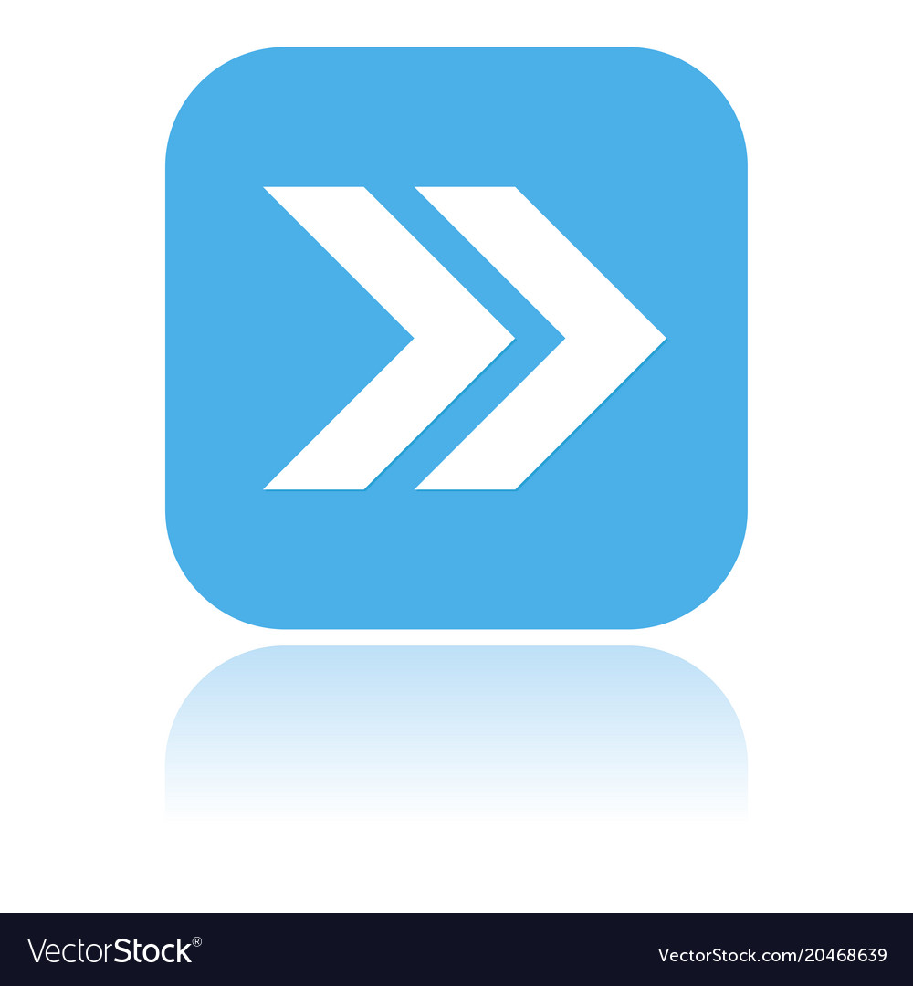 Arrow Icon Blue Square Icon With Reflection Vector Image